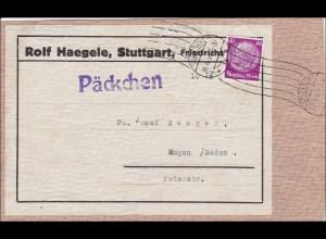III. Reich: Päckchen Adressteil von Stuttgart 1934, Adressteil
