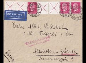Luftpost von Dresden nach Altstetten: Flugpost Flughafen Nürnberg/Fürth 1931