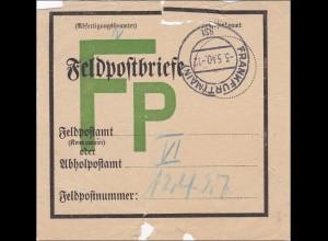 III. Reich: Feldpostbrief Zettel von Frankfurt Main von 1940
