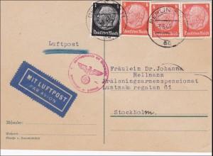 III. Reich: Luftpost Karte von Berlin nach Stockholm mit Zensur 1940