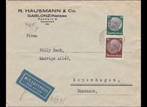 III. Reich: Luftpost Brief von Gablonz/Neisse nach Dänemark mit OKW Zensur