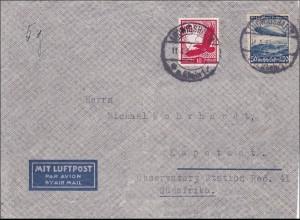 III. Reich: Luftpostbrief von Ludwigshafen nach Südafrika 1934
