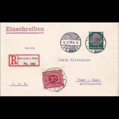 III. Reich: Brief Bernstein a. Wald nach Eger - Nachgebühr/Postlagergebühr 1939