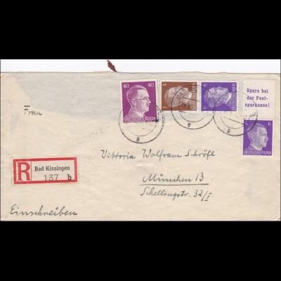 III. Reich: Einschreiben von Bad Kissingen nach München 1942