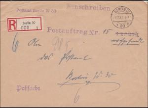 III. Reich: Postauftrag Einschreiben innerhalb von Berlin 1937