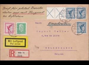 Einschreiben Luftpost von Köln nach Welkenraedt in Belgien 1931