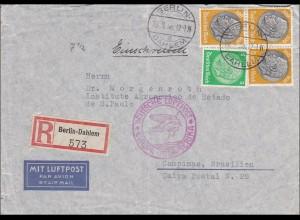 III. Reich: Luftpost-Einschreiben von Berlin Dahlem nach Brasilien 1938