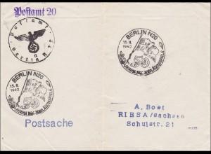 III. Reich: Postsache Berlin nach Riesa mit versch. Stempeln 1942