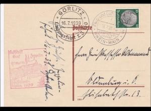 III. Reich: Ganzsache Görlitz nach Würzburg Landungsfahrt LZ 130 -Graf Zeppelin