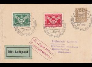 Ganzsache 31. Dt. Philatelistentag 1925 Hamburg mit Luftpost München 2