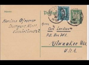 Ganzsache 1925 von Stuttgart nach USA