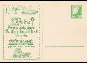 Ganzsache 1936 Fest Postkarte 25 Jahre Leipziger Briefmarkenbörse Luftpost