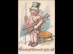 WHW 1934/35 Gau München Propagandakarte als Ganzsache