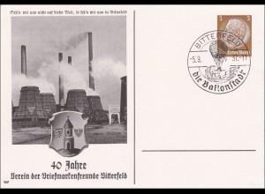 Ganzsache 40 Jahre Briefmarkenfreunde Bitterfeld - Ballonstadt 1937
