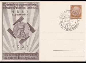 Ganzsache 50 Jahre Verein Gößnitz/Altenburg 1937