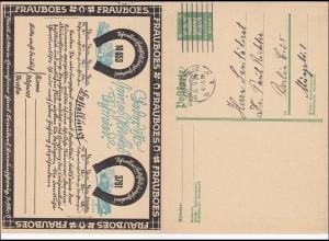 Ganzsache mit Antwort: FRAUBOES Lotterie Lose Werbung 1926