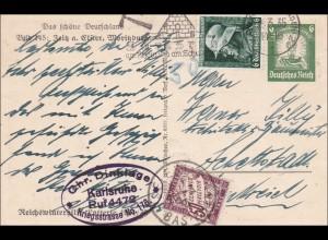 Ganzsache Deutschland 1935 Ansicht Zeitz a. Elster, Moritzburg in die Schweiz