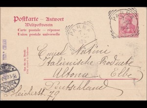 Antwort Ganzsache Germania von Parma nach Altona 1903, P68 A
