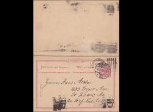 Ganzsache mit Antwortkarte von Berlin nach St. Louis USA, 1898
