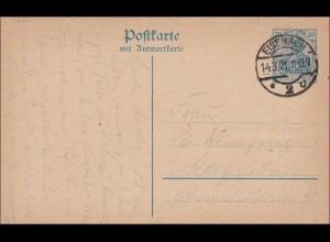 Ganzsache mit Antwortkarte von Eisenach nach Magdeburg 1921, P122