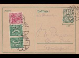 Ganzsache 1922 mit Zusatzfrankatur von Osterburg nach Berlin