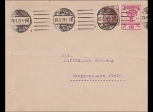 Ganzsachenumschlag 1921 von Frankfurt nach Sangerhausen