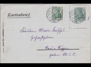 Ganzsache SELTENER Kartenbrief von Dresden 1916, Germania