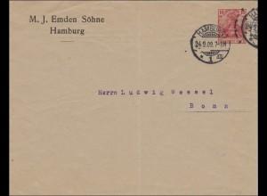 Ganzsache Germania 1909 PU26, Hamburg nach Bonn