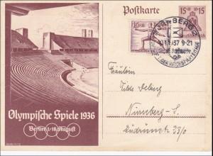 Ganzsache III. Reich, Olympiade 1936, nach Nürnberg