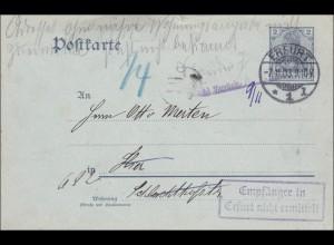 Ganzsache Germania 1903 von Erfurt, Empfänger nicht ermittelt