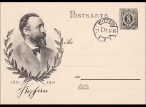 Ganzsache Stephan 1931 von Witten (Ersttag !!!)