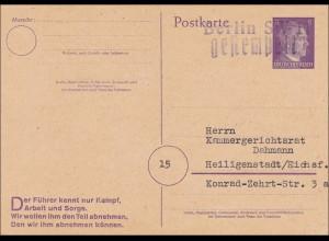 Ganzsache Hitler Berlin SW-11 gestempelt nach Heiligenstadt 1944