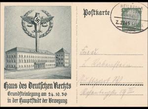 Ganzsache Haus des dt. Rechts, München 1936, Bahnpost Stuttgart Heilbronn