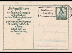 Ganzsache Festpostkarte Kundgebund Erntedanktag, Brückeberg bei Hameln 1935