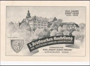 Ganzsache 1. Briefmarkenausstellung KdF, Kreisgruppe Gera, 1937