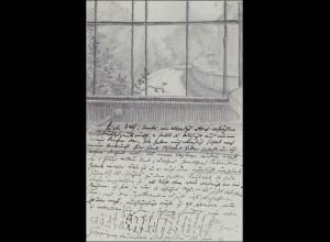 Ganzsache mit Bleistiftzeichnung rückseitig, 1903 Göppingen nach Künzelsau