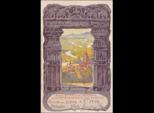 Ganzsache 1900, Gruss aus Indien von Dresden-Bazar nach Leipzig