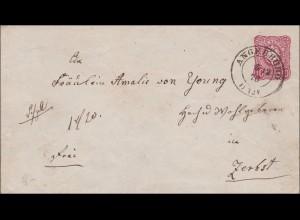 Ganzsachenumschlag 1875 von Angerburg nach Zerbst