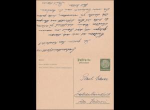 Ganzsache Lehrensteinsfeld über Heilbronn 1939 mit Antwortkarte nach Weinsberg