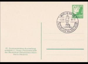Ganzsache Postwertzeichen Ausstellung Olympische Spiele 1936