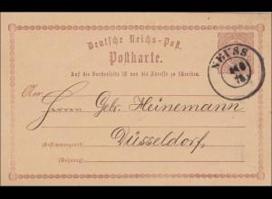Ganzsache Neuss nach Düsseldorf 1875