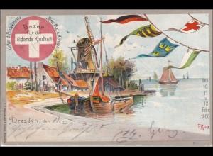 Ganzsache Dresden-Bazar nach Berlin 1900 mit Ansicht Dresden für leidende Kinder