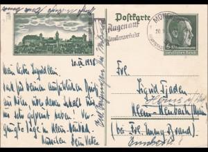 Ganzsache von München nach Herne 1938