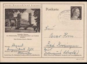Ganzsache Deutsches Museum München, Bahn Post Stempel nach Bad Krozingen 1942