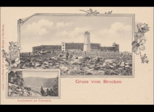 Ganzsache Gruss vom Brocken mit Ansicht Broken 1900