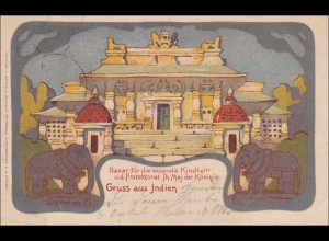 Ganzsache Dresden 1900 mit Abbildung Bazar-Gruss aus Indien für leidende Kinder