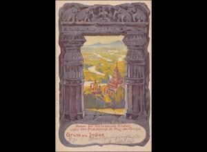 Ganzsache Dresden Bazar für leidende Kindheit - Gruss aus Indien 1900