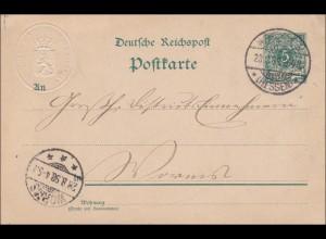 Ganzsache aus Hessen nach Worms von Finanzministerium 1898 mit Prägestempel