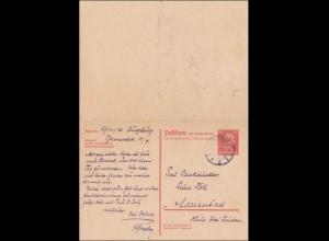 Ganzsachen P 173I, von Augsburg nach Marienbad 1931 mit Antwortkarte