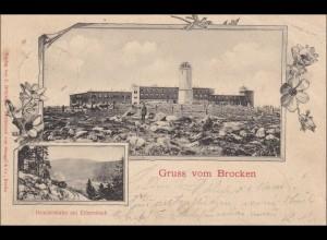 Ganzsache Gruss vom Brocken nach Osterfeld 1900